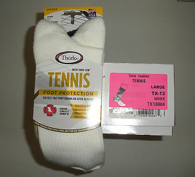 THORLO- 6 PAIR- TX -13- MENS CREW THICK CUSHION TENNIS SPORT SOCKS- MENS 9 -12.5