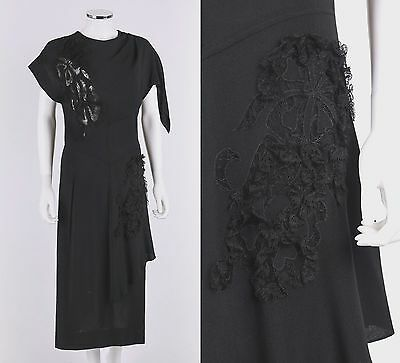 Vtg ORIGINAL FRANKLIN c.1940s Black Crepe Floral Lace Asymetrical Cocktail Dress