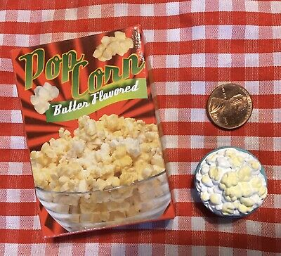 Mini Play Fake Food Replica Mini Bowl Of Popcorn Box Duo Lot 3d Magnets Pcb3