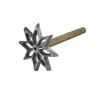 Star Bunuelera Mexican Aluminum Wood Handle Molde Para Bunuelos Rustic