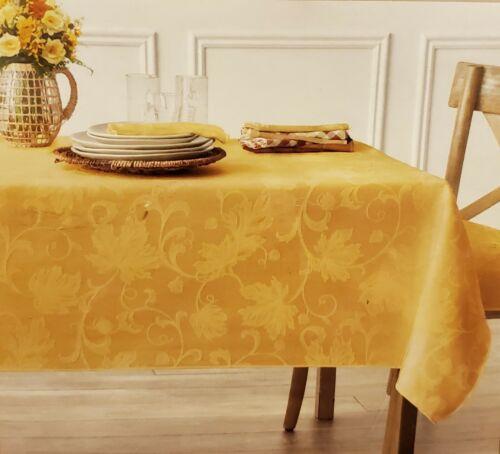 Autumn Vine Oblong Tablecloth Damask 60 x 84 Thanksgiving Fall Mushroom Tan