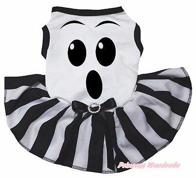 Ghost Face Halloween White Top Black Striped Tutu Skirt Pet Dog Puppy Cat Dress - Halloween Puppy Dog Face