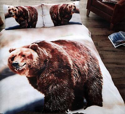 COPRIPIUMINO Una Piazza e Mezza 200x200 cm + 2 Federe Grizzly Orso Bruno Orsi An
