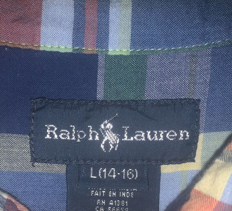 Ralph Lauren Boys Short Sleeve Button Down Plaid Shirt Sz 14/16