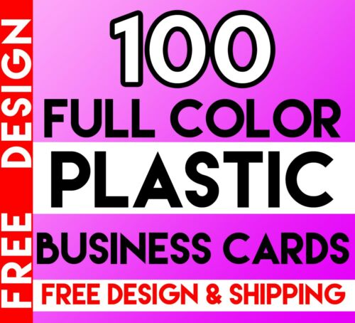 100 Plastic Business Cards Free Design & Shipping Full Color