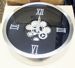 METAL MOVING GEARS  WALL CLOCK 14 DIAMETER  W/ MOVING GEARS IN CENTER 42825