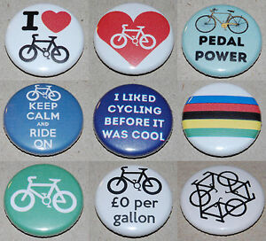 Cycling-Button-Badge-25mm-1-inch-Choose-from-9-designs-Bicycle-Bike