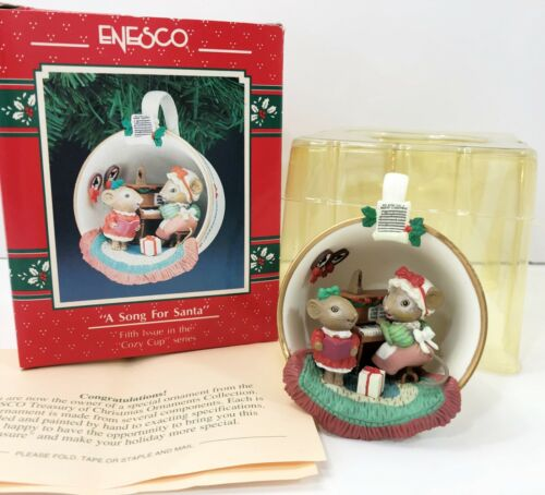Enesco Treasury A Song for Santa Cozy Cup Series 5th Issue Ornament 1991