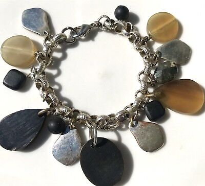 Vintage 50's Charm Bracelet With Earth Tone Charms Amber Black Silver Gray