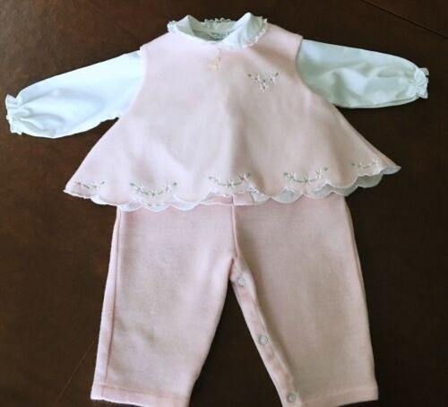 Tiny Tots Original Girls 3 Pc Outfit Vintage Pink Jumper Overalls Top 6-9 M
