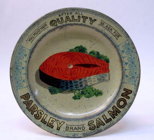 circa 1910 PARSLEY BRAND SALMON advertising  tin litho tip tray