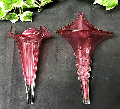 Two Lovely Antique Cranberry Glass Epergne Flutes / Horns / Trumpets