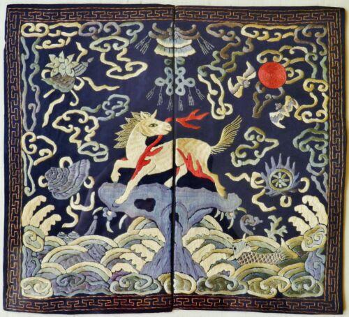 19thC Chinese Silk Embroidery Mandarin Rank Buzi Panel Textile Qing Antique