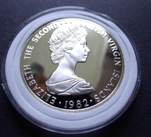 1982 BRITISH VIRGIN ISLANDS PROOF RARE SILVER DOLLAR, Elizabeth II, w Holder