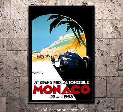 - 1933 Monaco Grand Prix Vintage Racing Poster [6 sizes, matte+glossy avail]