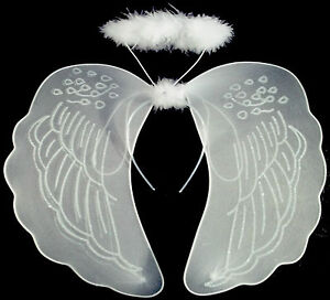 Large White Angel Wings And Halo Fancy Dress Fairy Set Nativity Angel
