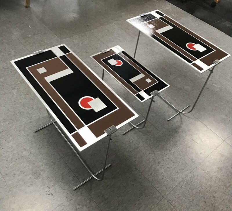 Walter Dorwin Teague Attribution Set 3 Aluminum Art Deco Kodak Tables