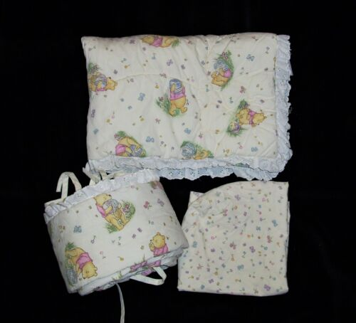 Classic Winnie the Pooh Newborn Baby Cradle Set Comforter Blanket Sheet Bumper