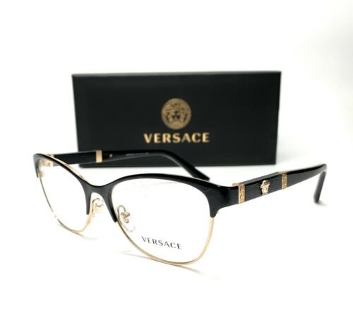 Versace VE1233Q 1366 Black Pale Gold Demo Lens Women Eyeglasses 53mm