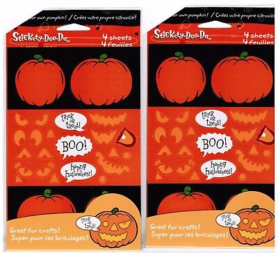 2 New Packs Halloween Decorate a Pumpkin Make a Jack O Lantern Stickers 8 Sheets