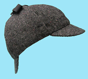 Deerstalker-Sherlock-Holmes-Dark-Grey-Pattern-Tweed-Hat
