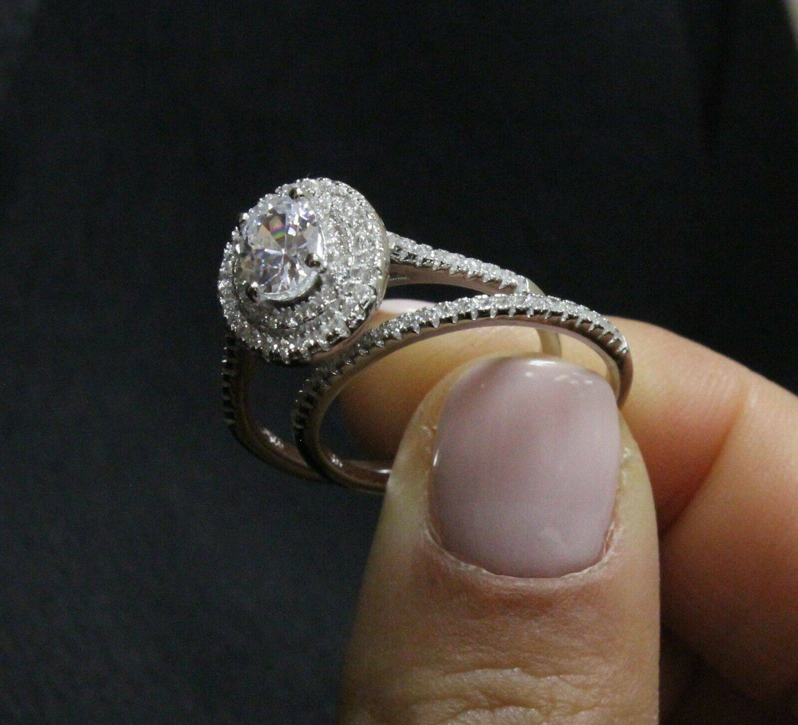 GIA Certified Diamond Engagement Double Halo Ring 1.89 CT Oval Shape 18k Gold 1