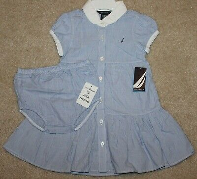New! Girls Nautica Woven Stripe 2 pc Dress Set/Outfit (Button-Up) - Sz 12, 24 mo