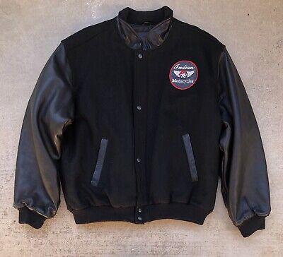 Vintage Golden Bear Black Wool & Leather Varsity Jacket Indian Motorcycle Patch