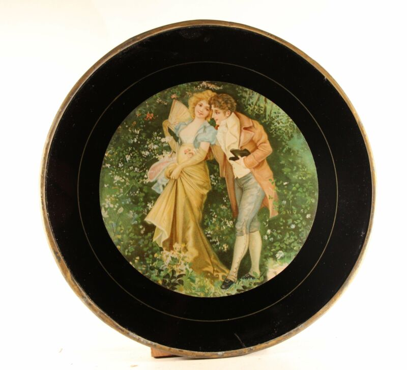 "Antique 11.75"" Flue Cover ""Man & Woman"" Glass With Metal Frame"