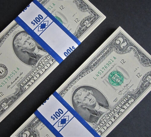 50 Mint, Uncirculated Two Dollar Bills 2013 $2 Notes Consecutive Serial Numbers