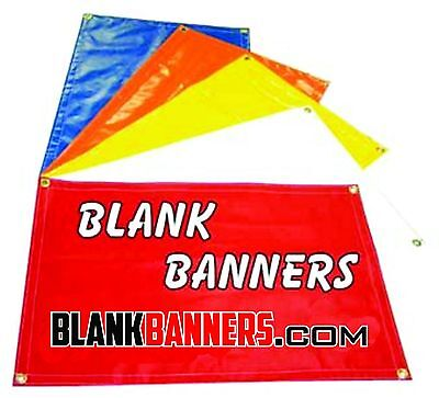 Two (2) WHITE 3 ft. X 8 ft. Sewn Vinyl Blank Banner Sign 13oz. 3x8 Grommets