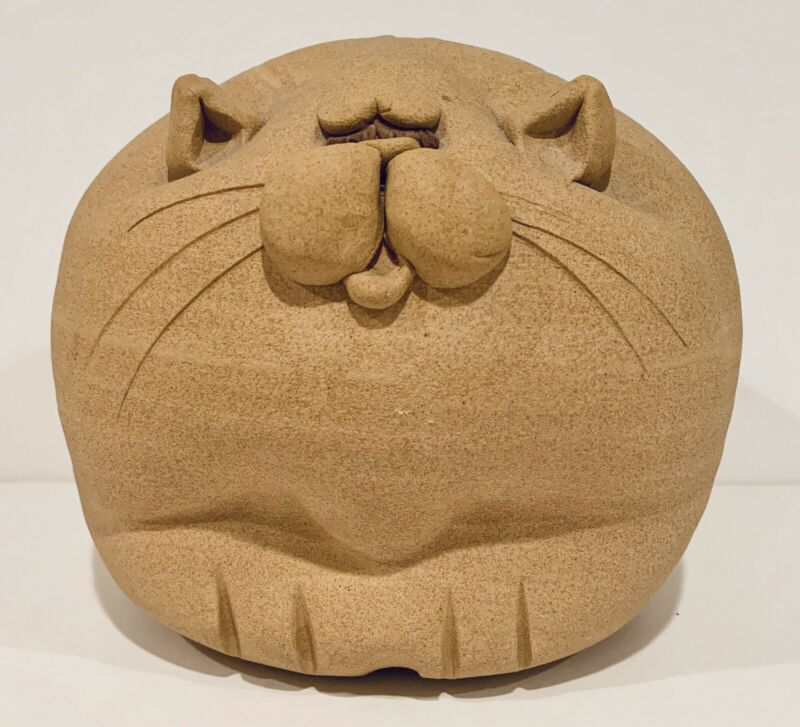 Handmade Stoneware Fat Cat Piggy Bank Studio Pottery Table Decor Large