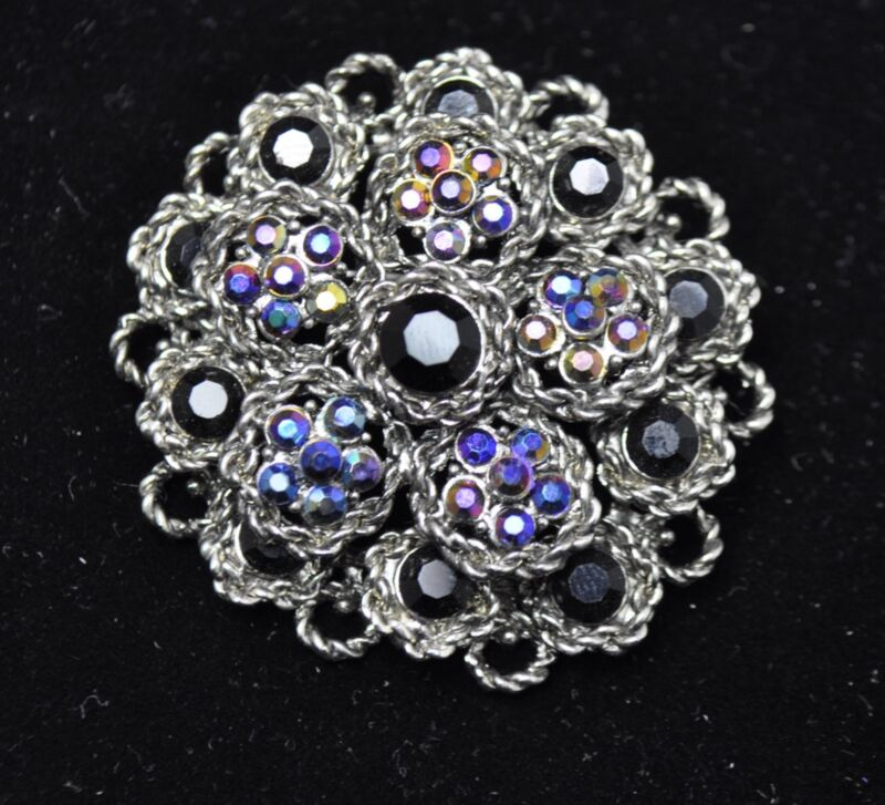 Vintage Flower Style Brooches black / ab color high-quality Bouquet gift #i32