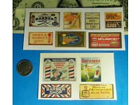 1:87 HO Scale Barber Shop CUT /& PEEL STICKER SIGNS Shave Haircut Stickers