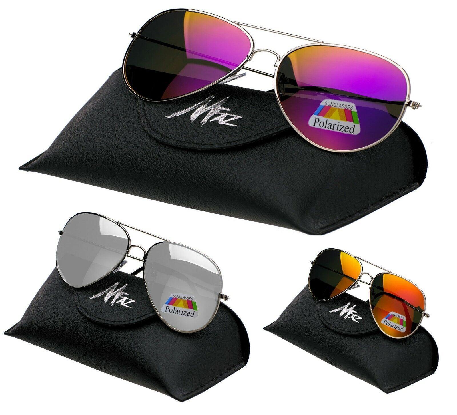 Herren Damen Pilot Verspiegelt Polarisiert Sonnenbrillen Mode 80er Shades