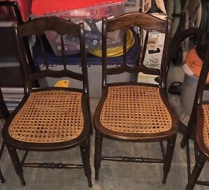2 Antique Vintage Cane or Wicker Chairs