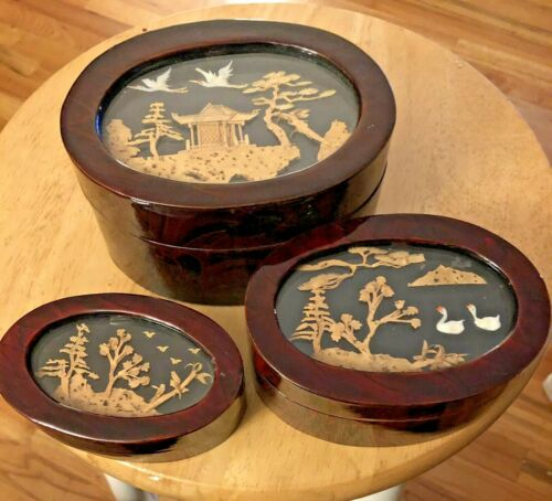 Asian Cork Scene Boxes Mahogany Shading Lacquer Red Lining
