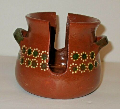 Tlaquepaque Mexican Pottery Barro Redware Red Clay Napkin Holder Small Flowers