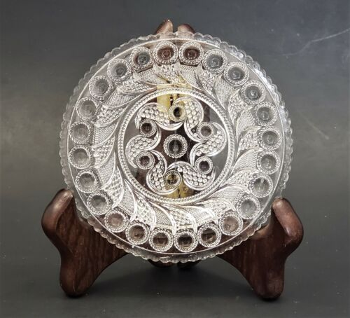 Antique Lee/Rose No. 803 Toddy Plate Peacock Eye Feather Clear Flint Glass