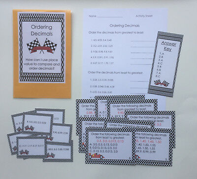 Teacher Made Math Center Learning Resource Game Greatest Least Ordering Decimals