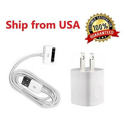 Home Wall AC Charger +30 pin Data Sync USB Cable Cord for iPhone 3G 4 ipod Nano