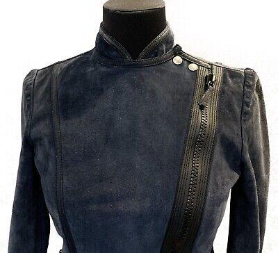 Women's Gucci Tom Ford Era Suede Leather Jacket Biker Motorcycle Blue Sz S