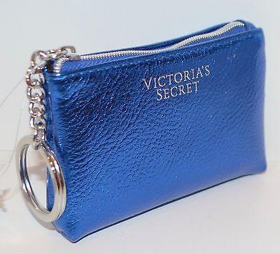 New Victorias Secret Blue Metallic Credit Card Holder Pouch Case Bag Coin Purse