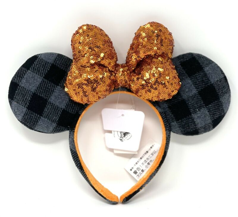 Disney Parks 2021 Halloween Plaid Minnie Ears With Orange Bow Headband NEW