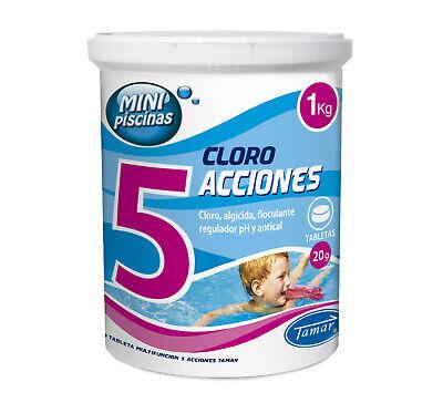 Cloro piscina pequeña con 5 acciones cubo hermetico de 1kg y tabletas...