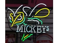 "Mickeys Malt Liquor Hornet Neon Light Sign 17/""x14/"" Man Cave Real Glass Artwork"