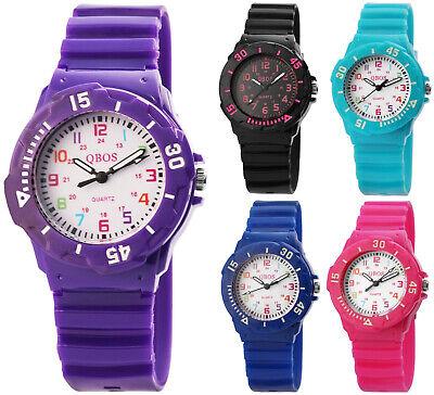 QBOS Silikon Kinderuhr Bunte Farben Mädchen & Jungen Armbanduhr Gummi Robust NEU (Robuste Uhr)