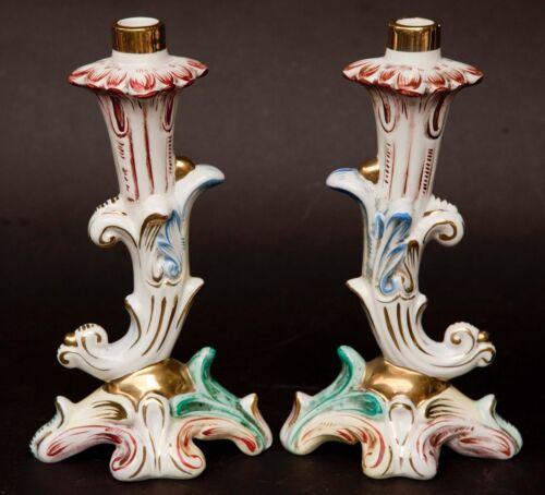 Antique Pair of Capodimonte Italian Porcelain Candle Holders