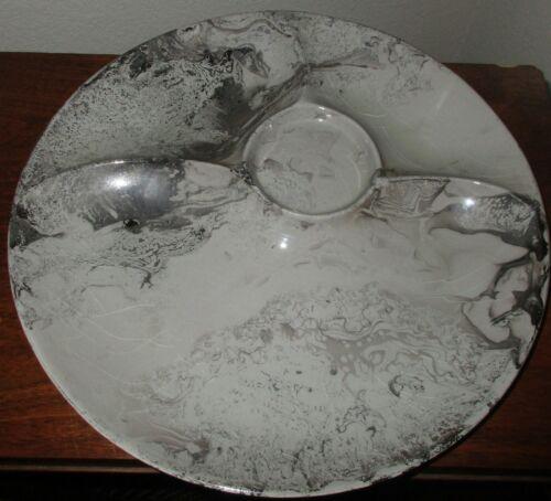 "Vintage Sascha Brastoff Surf Ballet Grey/Platinum Appetizer Plates 12"" Mid Centu"