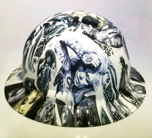 NEW FULL BRIM Hard Hat custom hydro dipped in , VIVA MI RAZA CHICANO TATTOOS 1